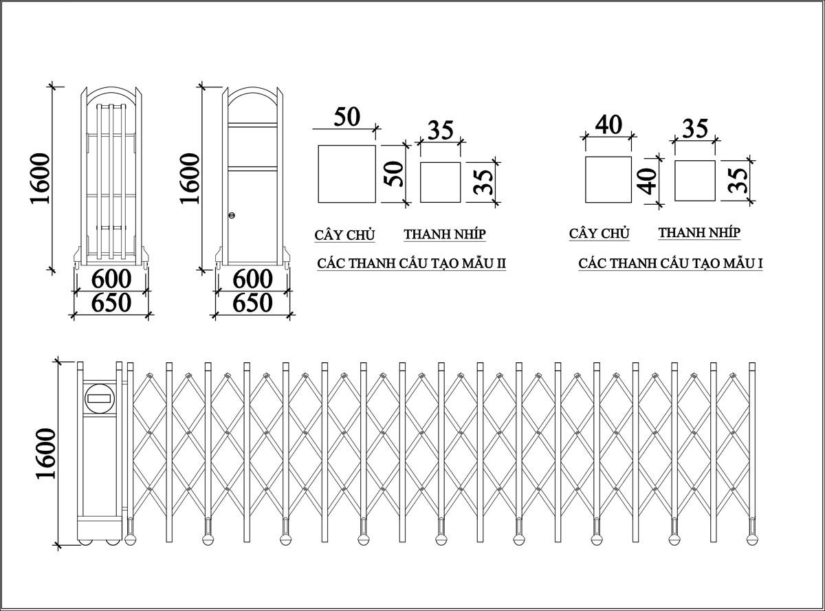 Cổng Xếp Inox MS 03 3