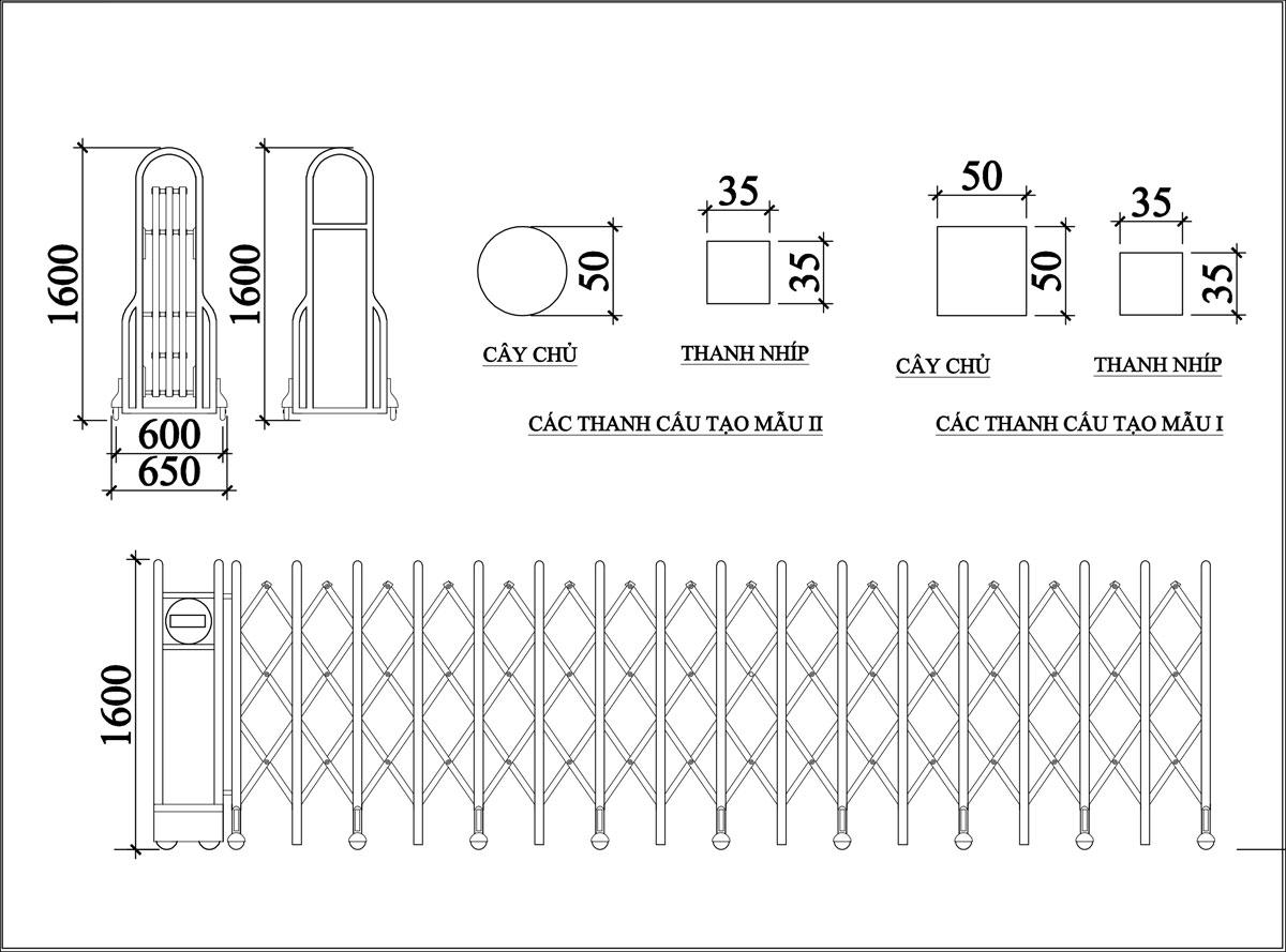 Cổng Xếp Inox MS 05 3
