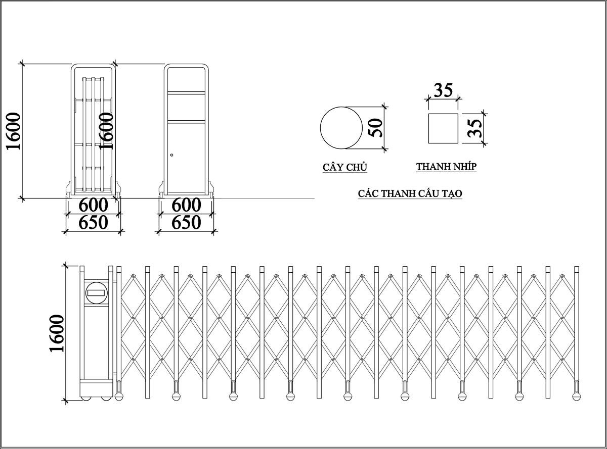 Cổng Xếp Inox MS 09 2
