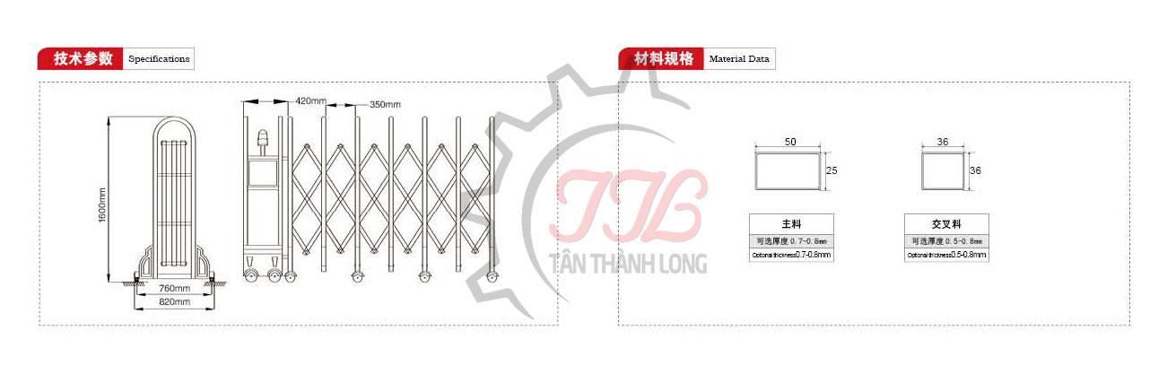 Cổng Xếp Inox Nhập Khẩu QG-J1633 2