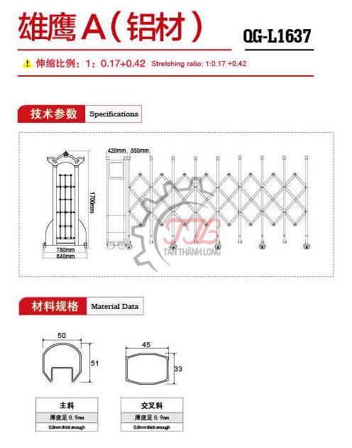 Cổng xếp nhôm nhập khẩu QG-L1637 2